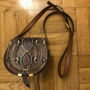 CHLOE Python Embossed Leather Saddle Bag